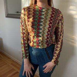 Vintage 70's Rainbow Knit Blouse